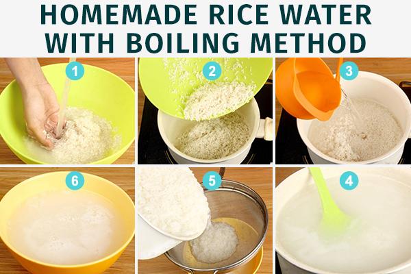 homemade rice water through boiling method
