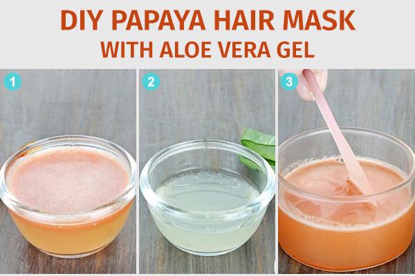 diy papaya hair mask with aloe vera gel