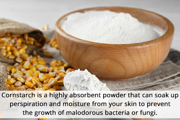 cornstarch can soak perspiration and moisture from skin
