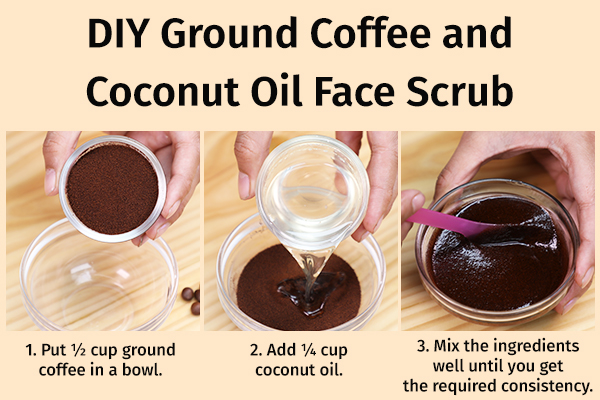 diy ground coffee and coconut oil face scrub