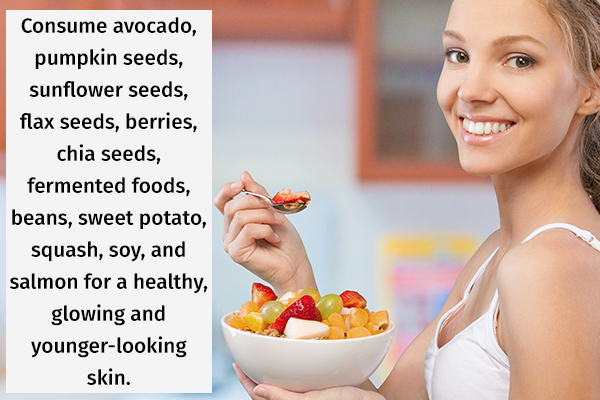 consume a healthy diet for glowing, younger-looking skin