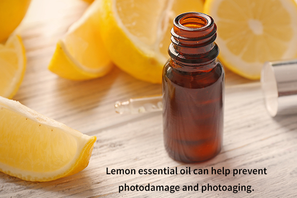 lemon essential oil can help prevent photodamage and photoaging.