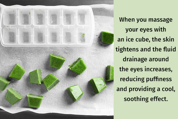 ice application can help reduce eye puffiness