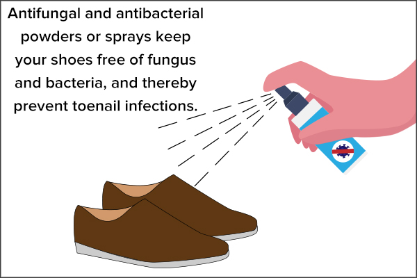 disinfect your shoes to avoid toenail infections